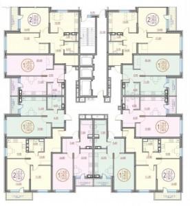 поэтажная планировка,  2-15 этаж