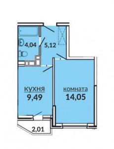 Планировка 1к.кв. ЖК Видный