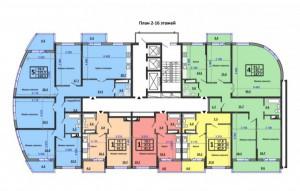 подъезд 1, 2-16 этаж