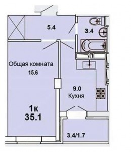 Планировка 1к.кв