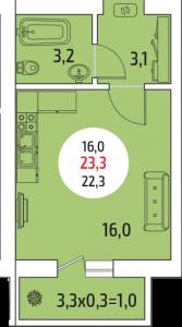 квартира-студия 23, 3 кв. м