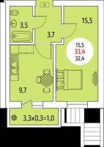 1-клмнатная квартира 33,4 кв. м