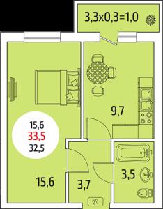 1-комнатная квартира 33,5 кв. м