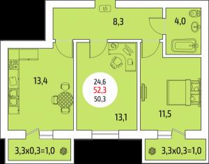 2-комнатная квартира, 52.3 кв. м
