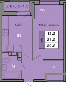 1-комнатная квартира  32.2 кв. м