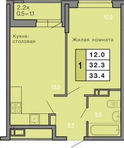 1-комнатная  квартира, формат
