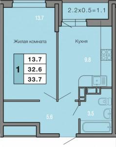 1-комнатная  квартира 33,7 кв. м